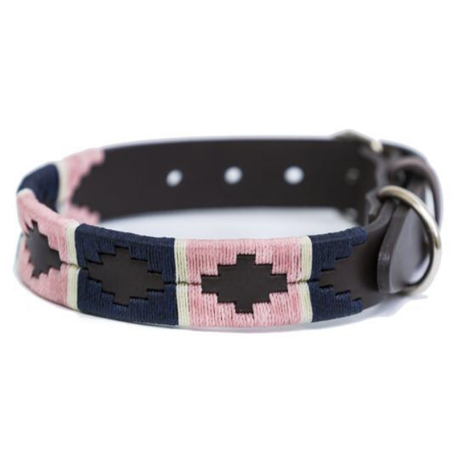 Pioneros Polo Dog Collar - Pink, Navy & White Stripe, Pet Collars & Harnesses by Dogs Dogs Dogs
