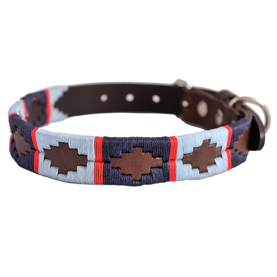 Pioneros Polo Dog Collar - Navy, Pale Blue & Red Stripe, Pet Supplies by Dogs Dogs Dogs