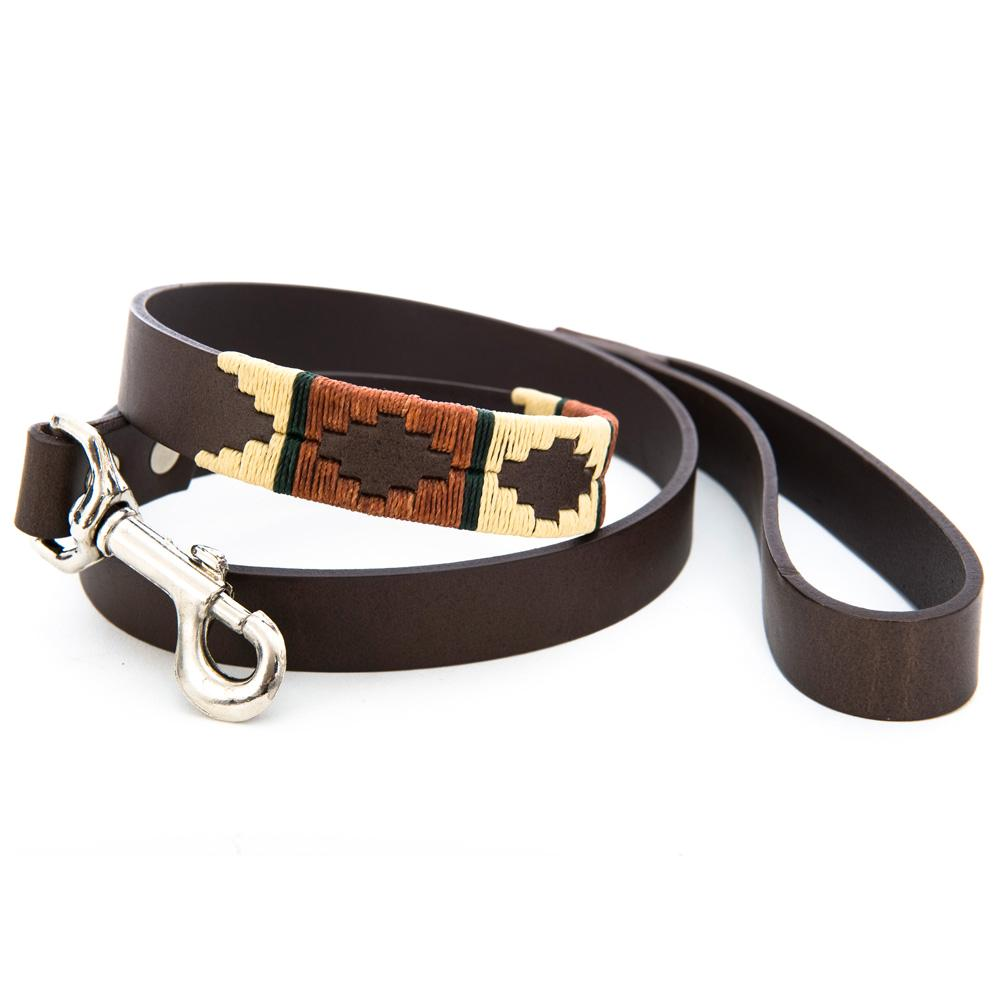 Pioneros Polo Dog Lead - Copper, Beige & Green Stripe, Pet Supplies by Dogs Dogs Dogs