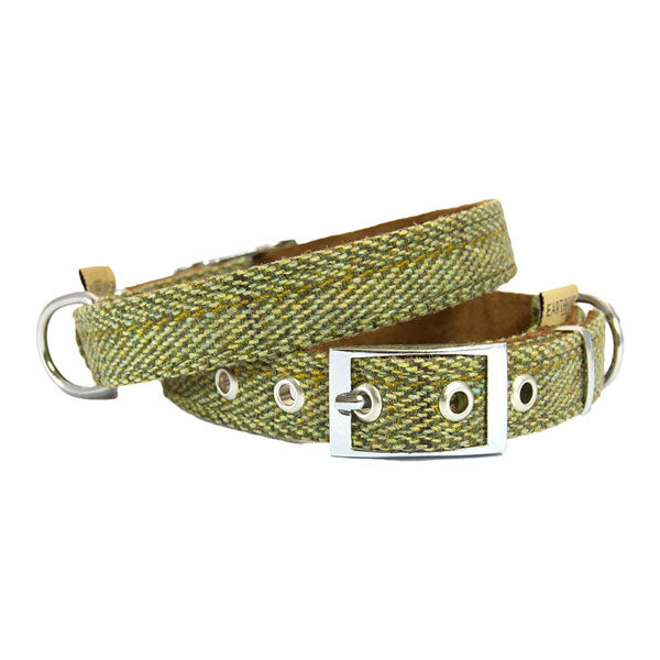 Earthbound Luxury Green Tweed Collar with Suede Backing