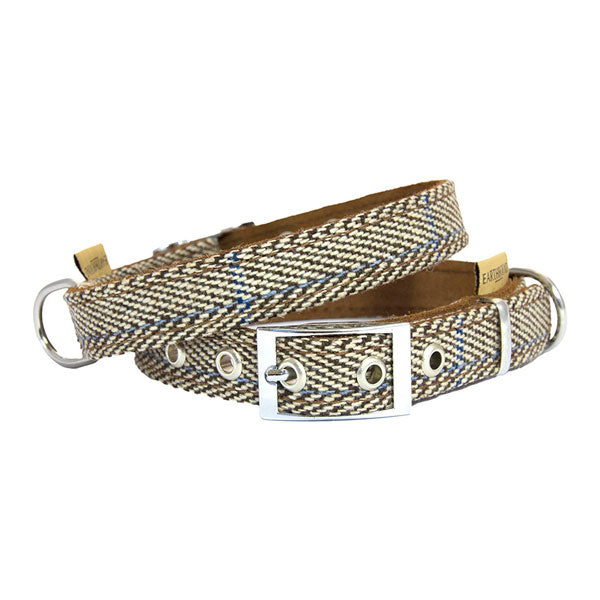 Earthbound Luxury Herringbone Tweed Collar with Suede Backing, Pet Collars & Harnesses by Dogs Dogs Dogs