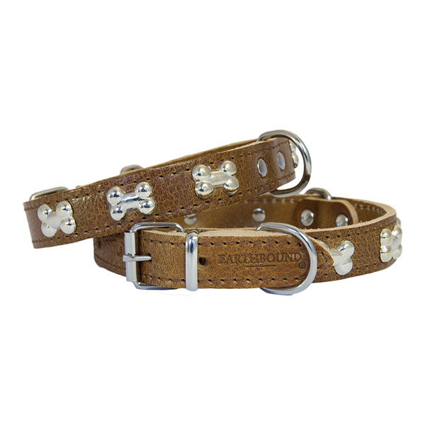 Earthbound Luxury Tan Leather Bone Collar, Pet Collars & Harnesses by Dogs Dogs Dogs