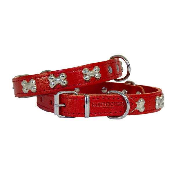 Earthbound Luxury Red Leather Bone Collar by  Dogs Dogs Dogs