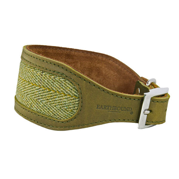 Earthbound Luxury Green Tweed & Leather Whippet Collar, Pet Collars & Harnesses by Dogs Dogs Dogs