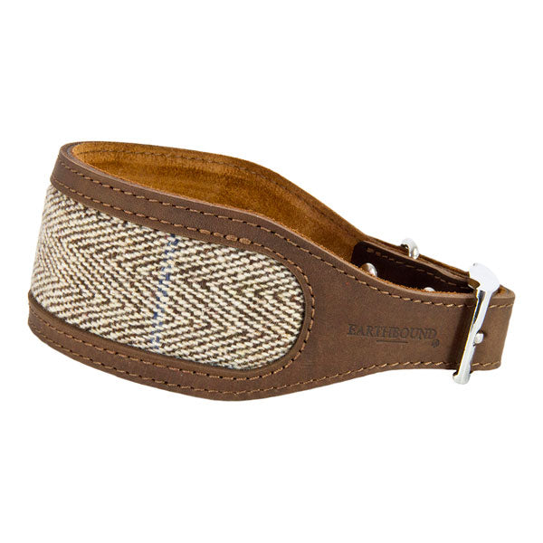 Earthbound Luxury Herringbone Tweed & Leather Whippet Collar, Pet Collars & Harnesses by Dogs Dogs Dogs