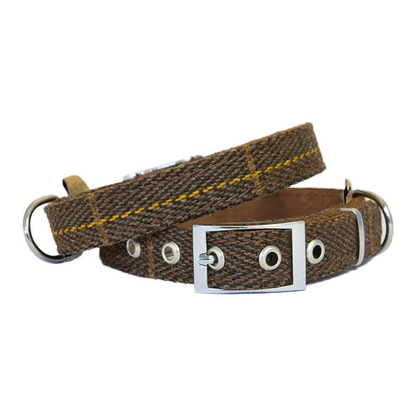 Earthbound Luxury Brown Tweed Collar with Suede Backing