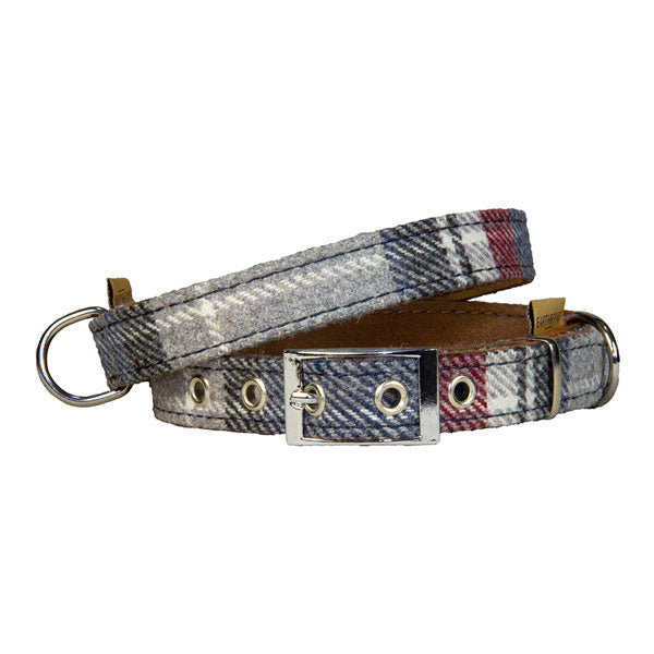 Earthbound Grey Check Collar with Suede Back by  Dogs Dogs Dogs