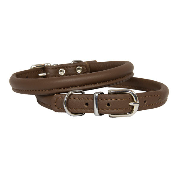Earthbound Rolled Brown Leather Collar, Pet Collars & Harnesses by Dogs Dogs Dogs