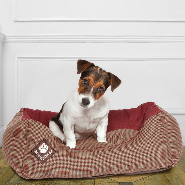Heritage Houndstooth Snuggle Bed with Dog