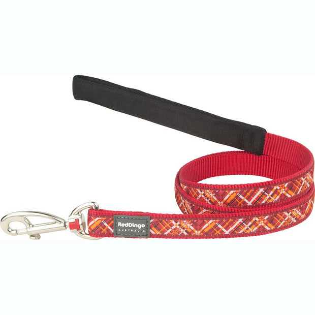 Red Dingo Flanno Dog Lead