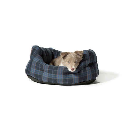 Lumberjack Navy Grey Deluxe Slumber Bed with Dog