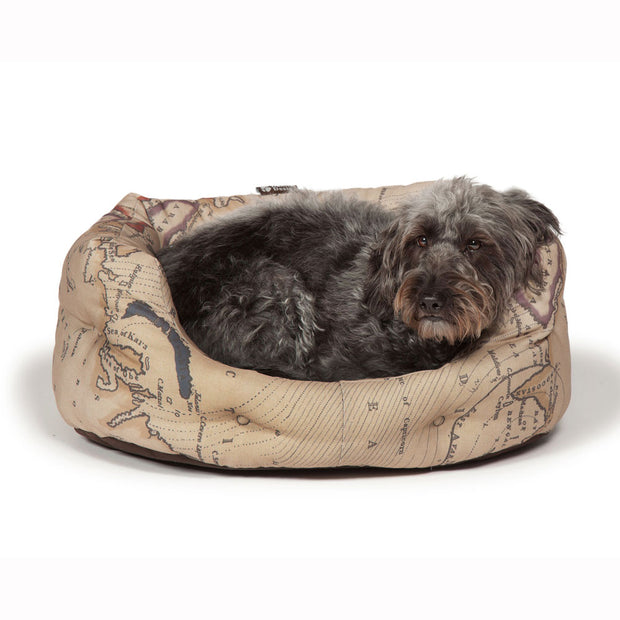 Vintage-Maps-Deluxe-Slumber-Bed-with-Dog