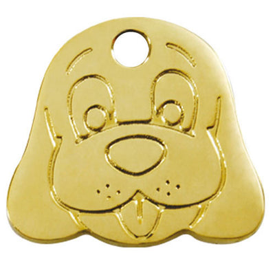 Red Dingo Brass Dog Face Dog Tag