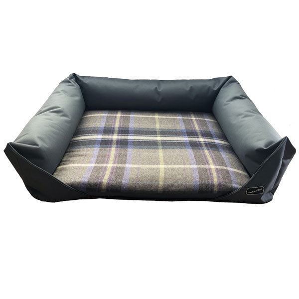 Hem and Boo Country Check Grey Dog Bed