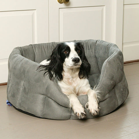 P&L Superior Pet Beds Premium Oval Faux Suede Softee Bed