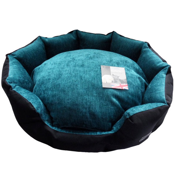 Hem and Boo Oval Snuggle Bed - Turquoise, Dog Supplies by Dogs Dogs Dogs
