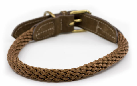 Ralph and Co Braided Rope Dog Collar - Olive Brown