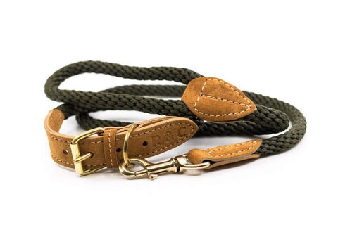 Ralph and Co Braided Rope Dog lead - Khaki Green