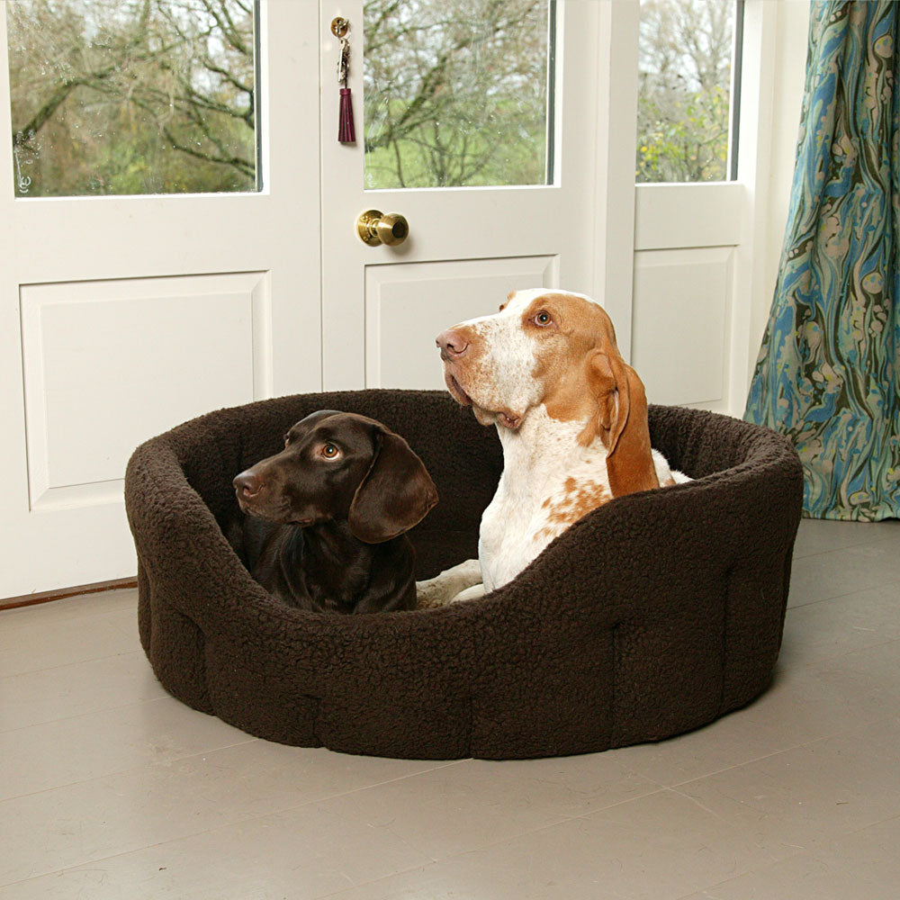 Pets & Leisure Premium Drop Fronted Sherpa Fleece Snuggle Bed by Dogs Dogs Dogs