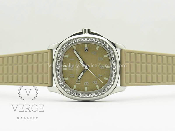 PATEK AQUANAUT 5067A BEIGE TEXTURED DIAL ON BEIGE RUBBER STRAP JJF
