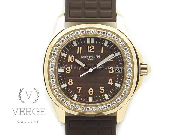 PATEK AQUANAUT JUMBO 5069A RG BROWN DIAL DIAMOND ON RUBBER STRAP TWF