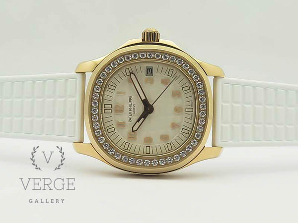 PATEK AQUANAUT JUMBO 5069A RG WHITE DIAL DIAMOND ON RUBBER STRAP TWF