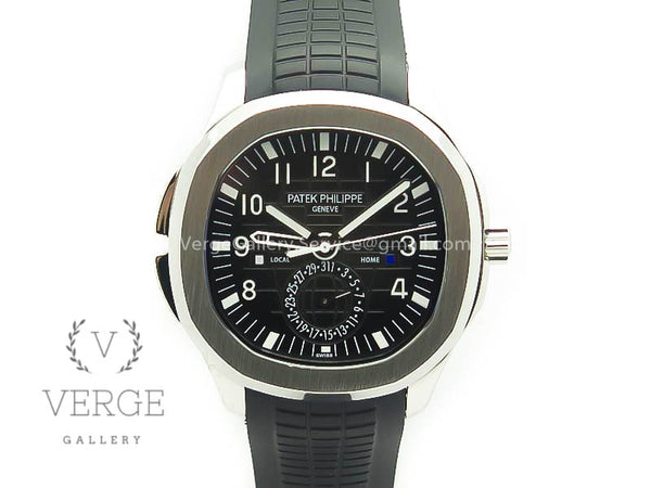 PATEK AQUANAUT TIME TRAVEL 5164A SS BLACK DIAL ON RUBBER STRAP