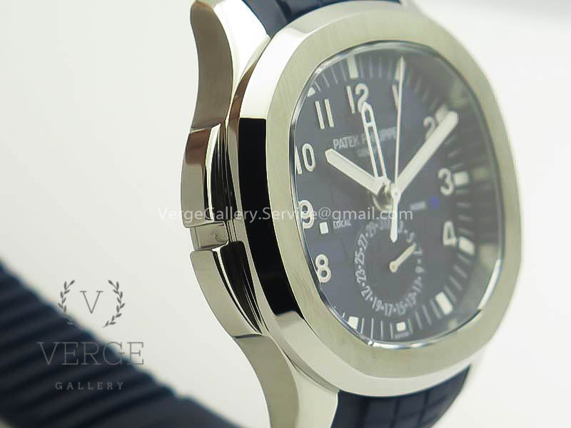 PATEK AQUANAUT TIME TRAVEL 5164A SS BLUE DIAL ON RUBBER STRAP