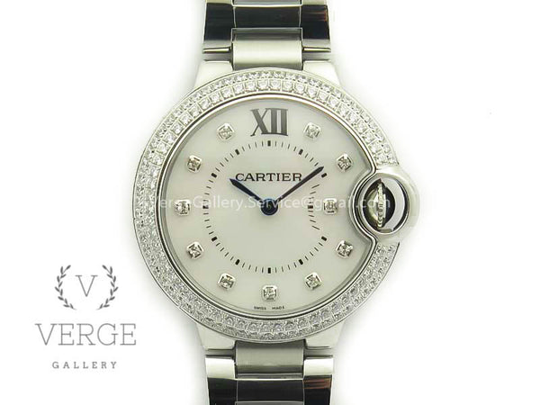 BALLON BLEU 33MM SS DIAMOND BEZEL WHITE MOP DIAL ON SS BRACELET V6F