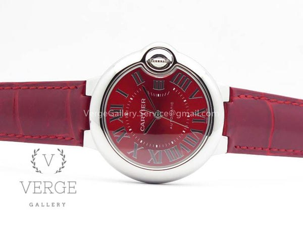 BALLON BLEU 33MM SS RED DIAL ON LEATHER STRAP V6F