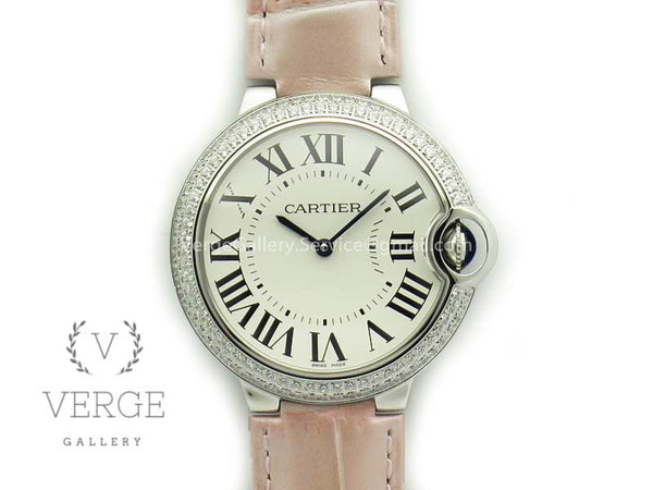 BALLON BLEU 36MM SS WHITE DIAL DIAMOND BEZEL ON LEATHER STRAP V6F