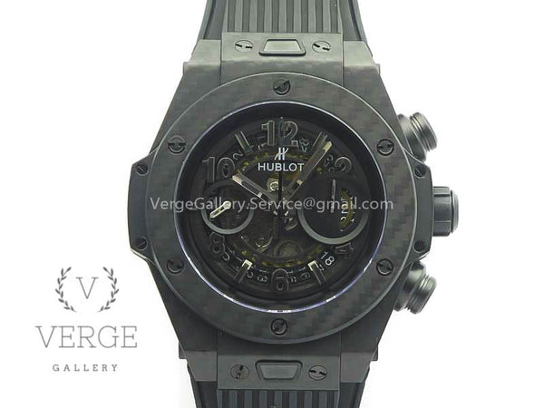 BIG BANG UNICO 45.5MM CARBON FIBER  BLACK SKELETON DIAL ON RUBBER STRAP 3AF