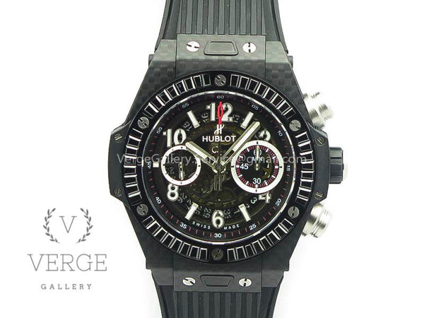 BIG BANG UNICO 45MM CARBON BLACK DIAL DIAMOND BEZEL ON RUBBER STRAP 3AF