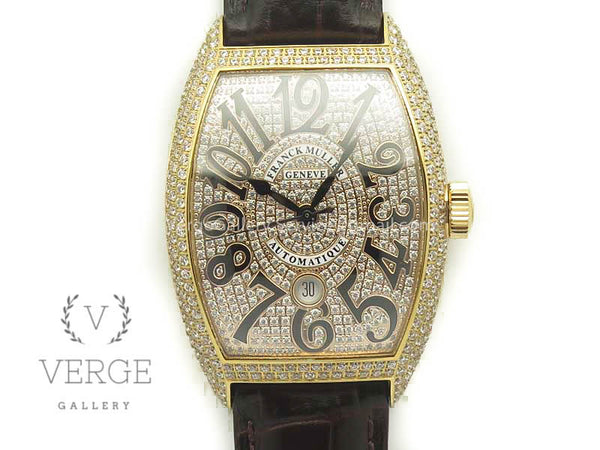 CASABLANCA 8880 AUTOMATIQUE RG FULL DIAMONDS ON BROWN LEATHER STRAP GF