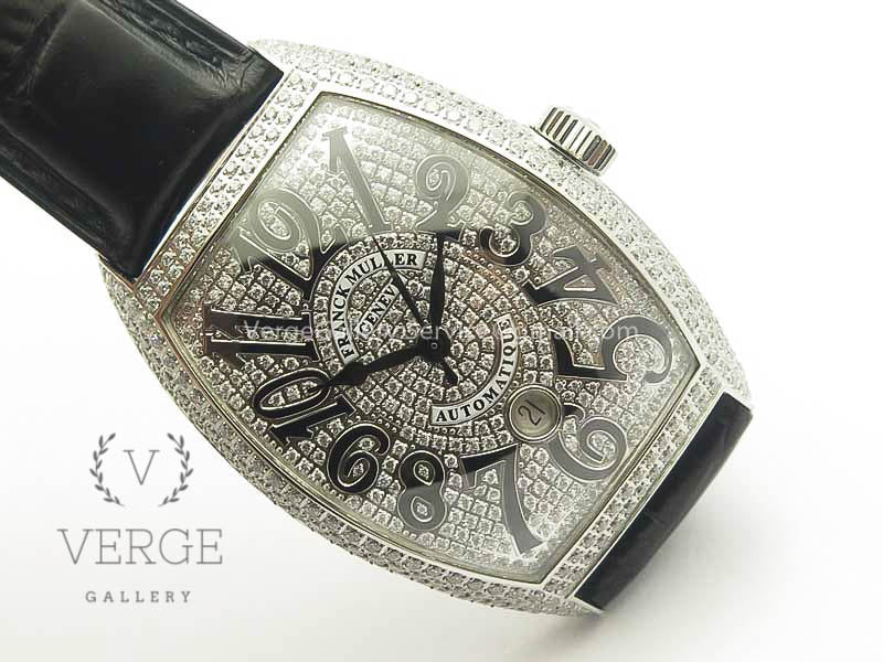 CASABLANCA 8880 AUTOMATIQUE SS FULL DIAMONDS ON BLACK LEATHER STRAP GF