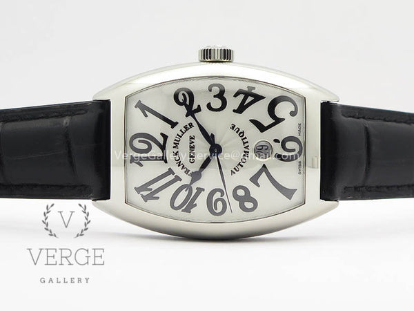 CASABLANCA DATE SS WHITE DIAL ON BLACK LEATHER STRAP GF