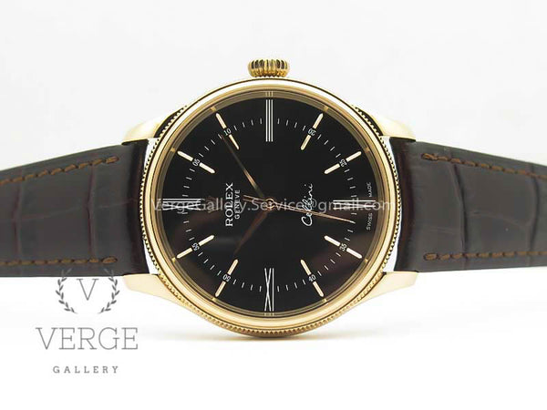 CELLINI TIME 50509 RG BLACK DIAL ROMAN MARKER ON BROWN LEATHER STRAP V4 MK