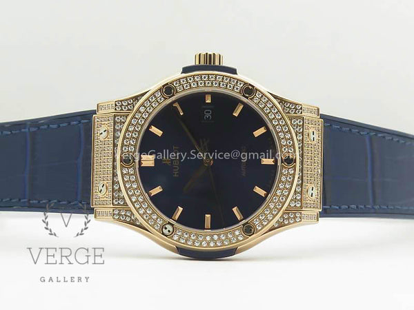 CLASSIC FUSION 42MM CRYSTAL/RG CASE BLUE DIAL ON GUMMY STRAP F16