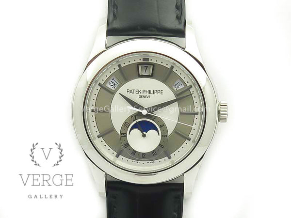 PATEK COMPLICATIONS SERIES MOONPHASE SS WHITE DIAL ON BLACK LEATHER STRAP KMF