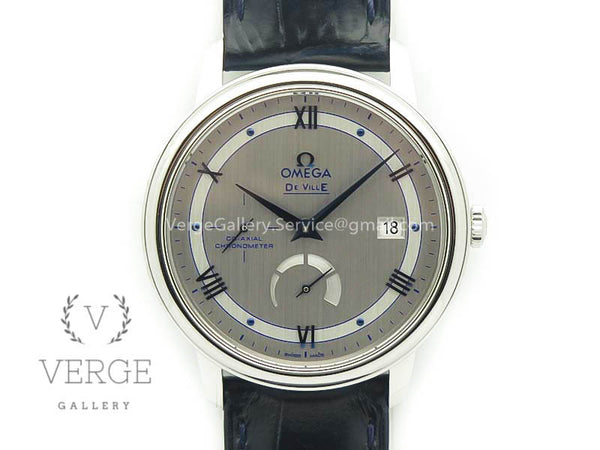 DE VILLE PRESTIGE REAL POWER RESERVE SS SILVER DIAL BLUE MARKERS ON LEATHER STRAP TW