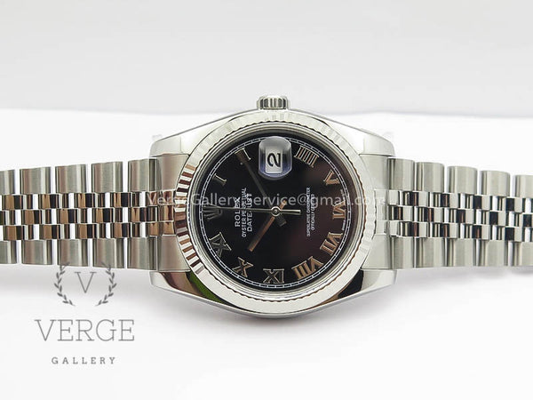 DATEJUST 36MM SS 116234 BLACK ROMAN DIAL ON SS JUBILEE BRACELET ARF