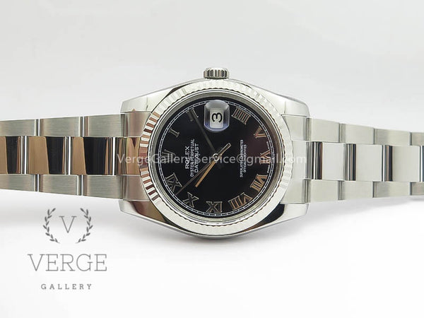 DATEJUST 36MM SS 116234 BLACK ROMAN DIAL ON SS OYSTER BRACELET ARF