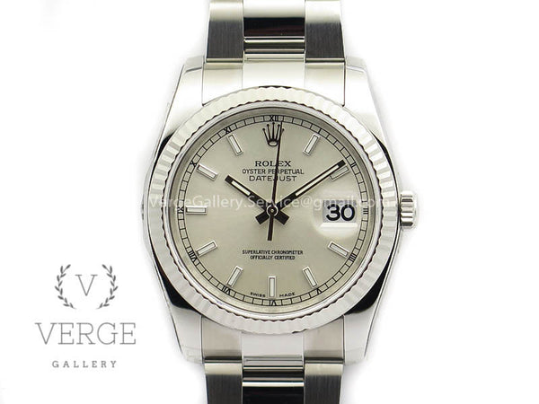 DATEJUST 36MM SS 116234 SILVER DIAL ON SS OYSTER BRACELET ARF