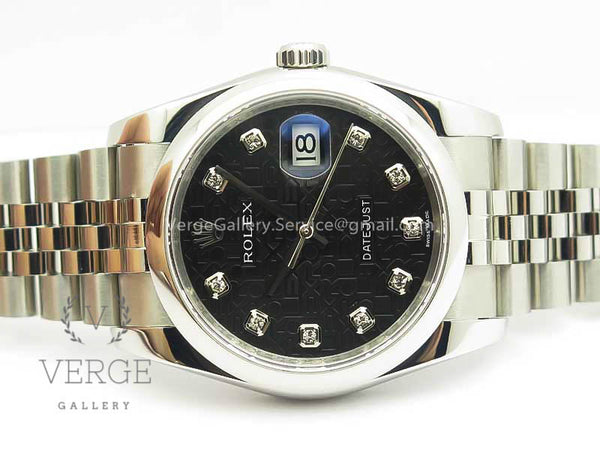 DATEJUST 116234 BLACK JUBILEE DIAMOND DIAL ON SS JUBILEE BRACELET DJF