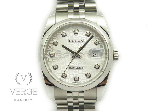 DATEJUST 116234 WHITE JUBILEE DIAMOND DIAL ON SS JUBILEE BRACELET DJF