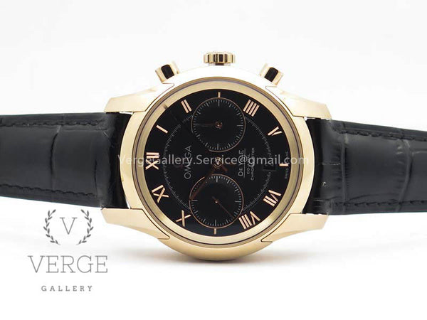 DE VILLE CHRONOGRAPH RG BLACK DIAL ON BLACK LEATHER STRAP OMF
