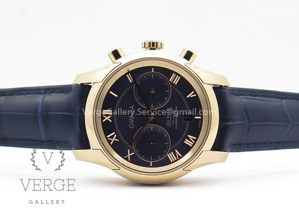 DE VILLE CHRONOGRAPH RG BLUE DIAL ON BLUE LEATHER STRAP OMF
