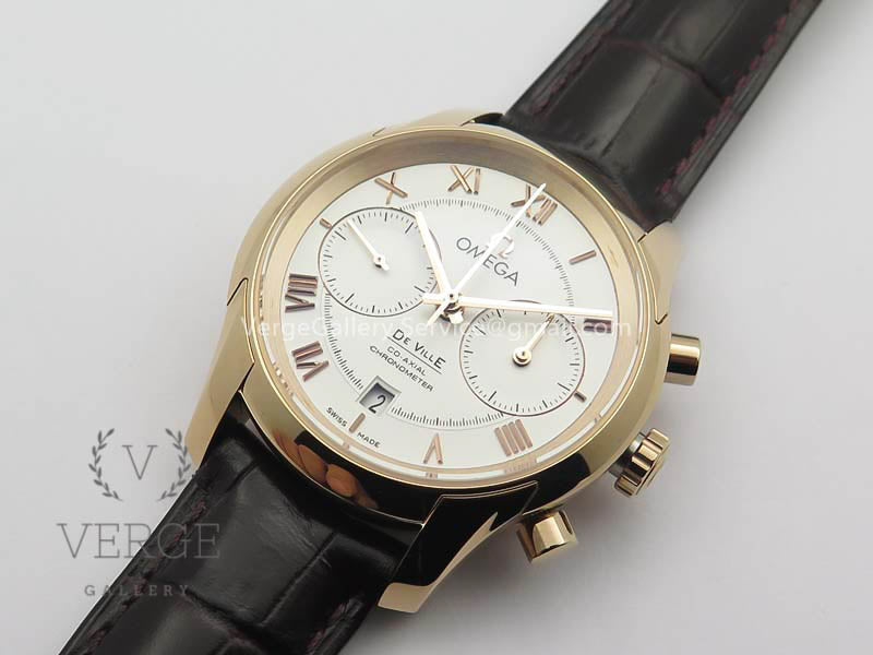 DE VILLE CHRONOGRAPH RG WHITE DIAL ON BROWN LEATHER STRAP OMF