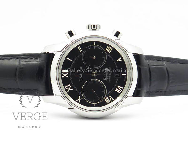 DE VILLE CHRONOGRAPH SS BLACK DIAL ON BLACK LEATHER STRAP OMF