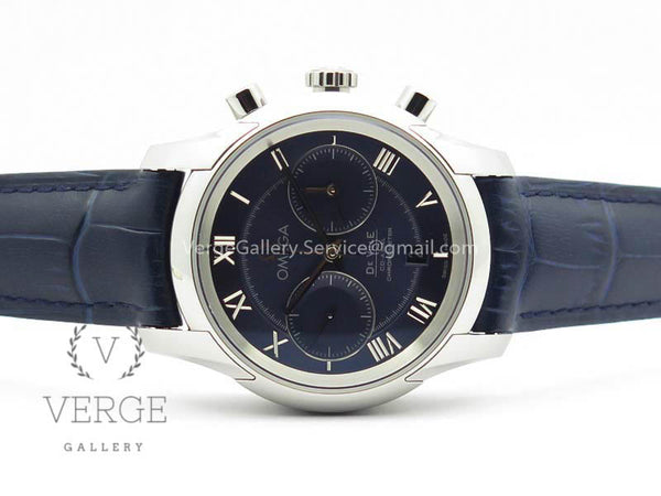 DE VILLE CHRONOGRAPH SS BLUE DIAL ON BLUE LEATHER STRAP OMF